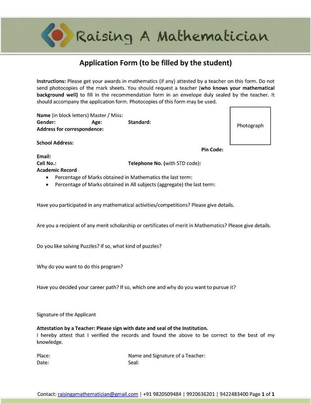 2. Application form