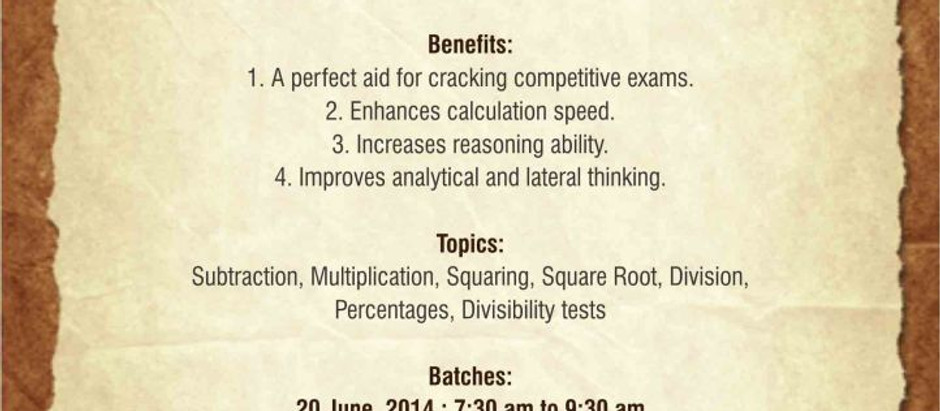 Foundation Course of Vedic Maths in June-July 2014