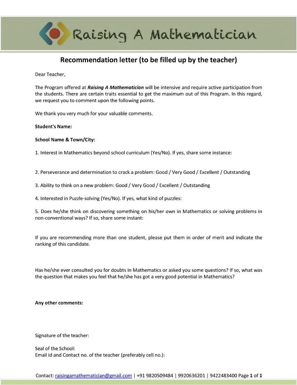 5. Recommendation letter by teacher