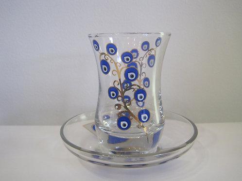 チャイグラス(受皿セット)/ボンジュウ柄