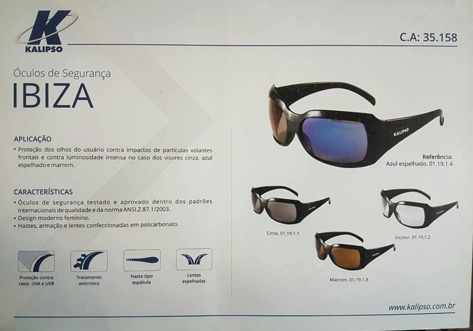 Óculos de Segurança IBIZA - Kalipso EPI Design, conforto e segurança. Toda  a linha de óculos com CA S, proteção UV, UVB e UVA, antirisco,  antiembaçante, ... cf051d8e21
