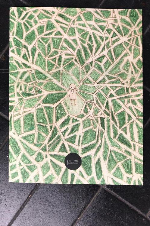 El pájaro de las alas de rama de árbol
