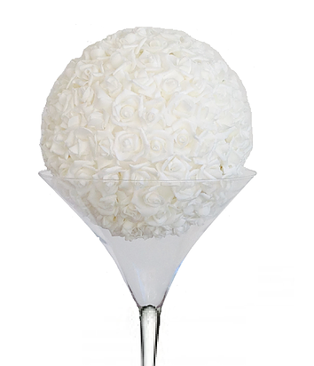 Package vase martini boule de rose