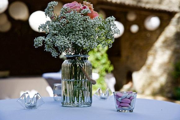 Vase en verre avec corde vintage