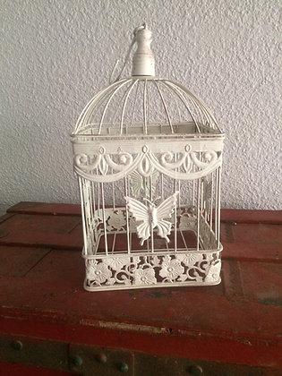 Cage à oiseaux carré shabby chic blanche