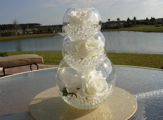 Trio de vases boules en verre