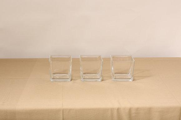 Mini cube en verre bougeoir 8x8x8cm