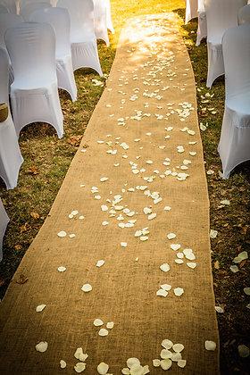 Tapis de cérémonie champêtre toile de jute