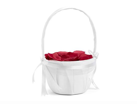 Pack panier blanc et pétales de roses fraiches
