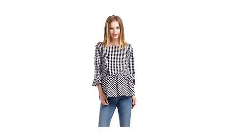 Nursing Gingham Top