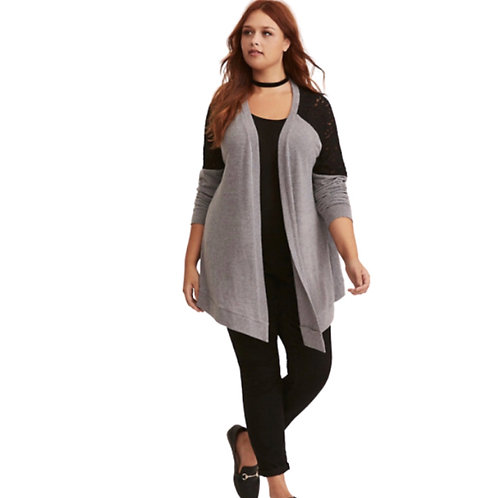 Torrid Black and Gray Lace Inset Open Cardigan