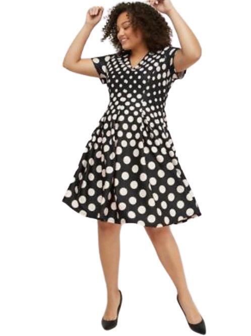 Lane Bryant Polka Dot Fit and Flare Scuba Dress