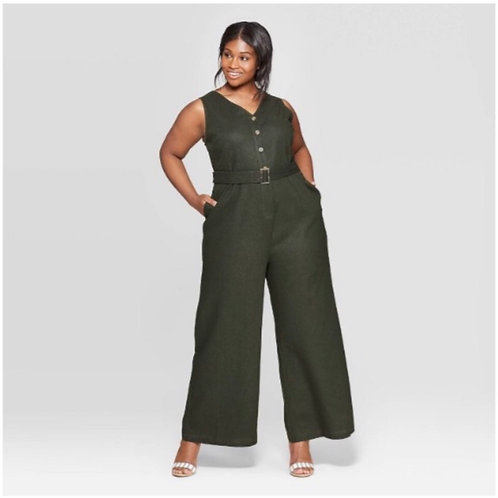 Who What Wear Plus Olive Jumpsuit
