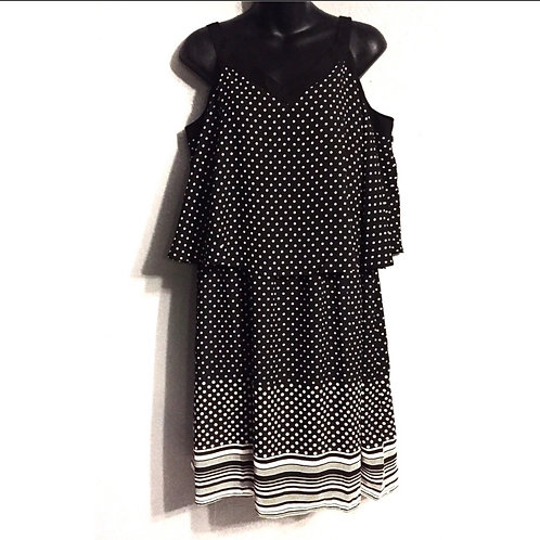 Avenue Plus Sleveless Polk Dot Dress