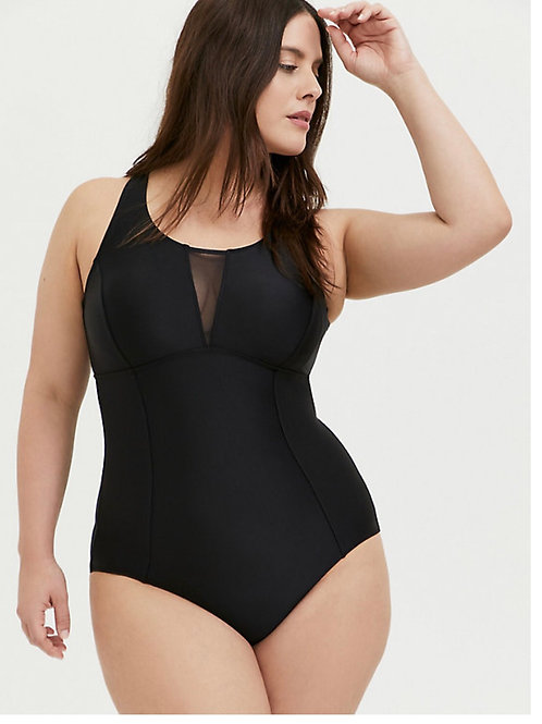 Torrid Black Keyhole Back Wireless Swimsuit