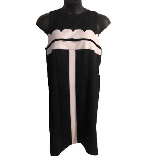 Eloquii Sleeveless Black and White Dress