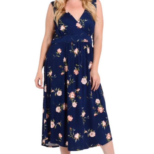 Bellini Plus Floral Sleeveless Midi Dress