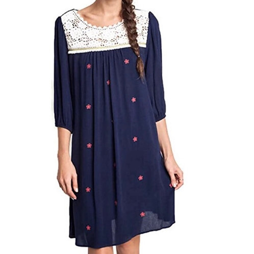 Umgee 3/4 Sleeve Peasant Dress With Embroidery
