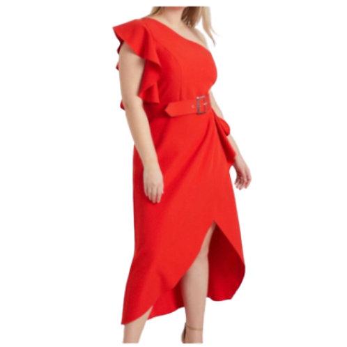 Eloquii Red One Shoulder Dress