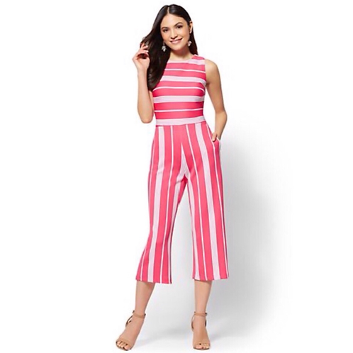 NY & Co. Striped Culotte Jumpsuit