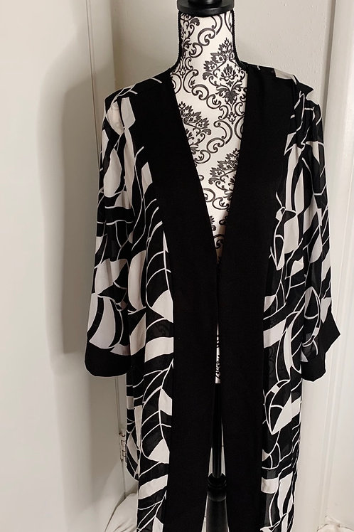 Vintage Black and White Duster/Kimono