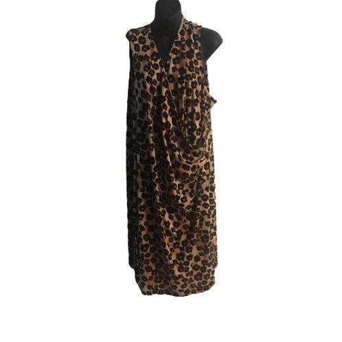Charter Club Plus Leopard Faux-Wrap Dress