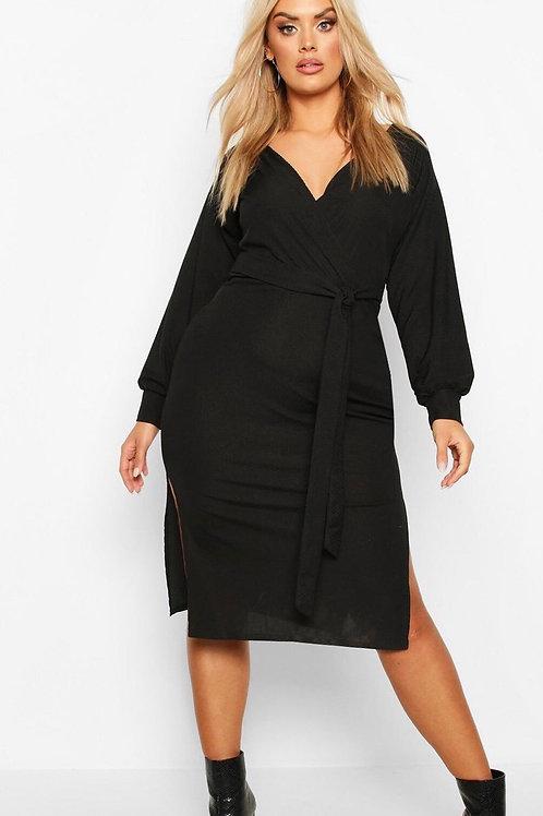 Boohoo Plus Wrap Rib Self Belted Midi Dress
