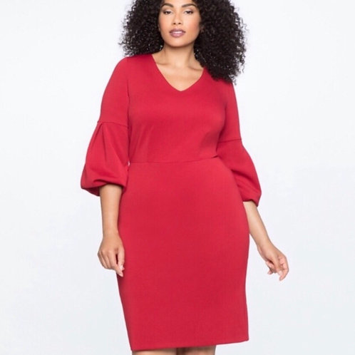 Eloquii V-Neck Puff Sleeve Sheath Dress