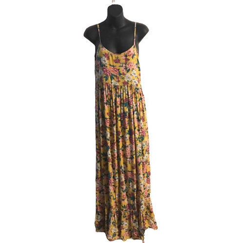 Xhiliration Yellow Floral Maxi Dress