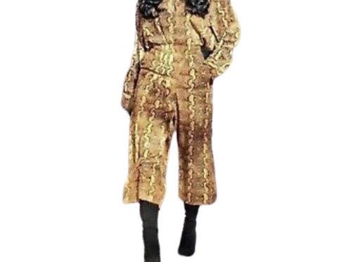 Zara Snakeskin Pleated Culottes