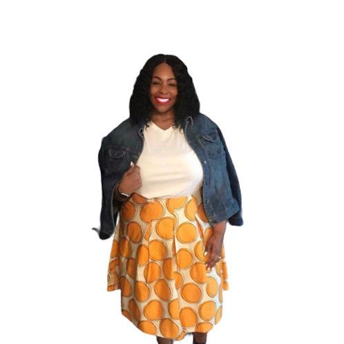 Lane Bryant Yellow and White Polka Dot Midi Skirt
