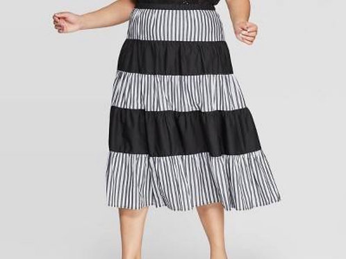 Who What Wear Striped Black and White Midi
