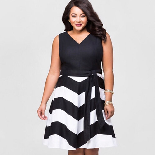 Ashley Stewart Plus Chevron Dress