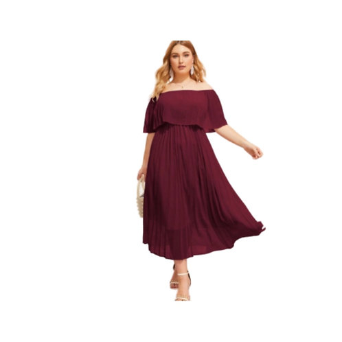 SHEIN Burgundy Pleated Off The Shoulder Dress