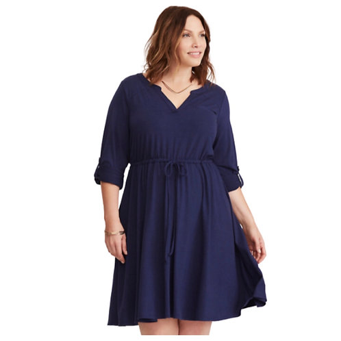 Torrid Blue Open Back Tie Waist Jersey Dress