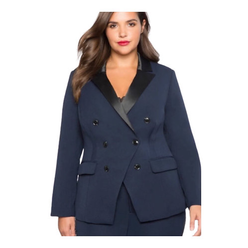 Eloquiii Satin Collar Double  Breasted Suit