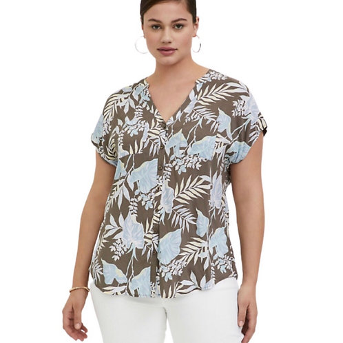 Torrid Dark Taupe & Blue Dolman Top