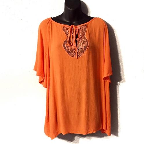 Eloquii Orange Lace Accent Top