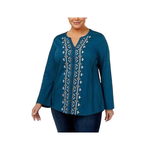 Style & Co. Plus Praire Teal Top