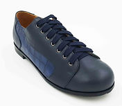 Saddle Leather Shoes Blue and Blue Croco