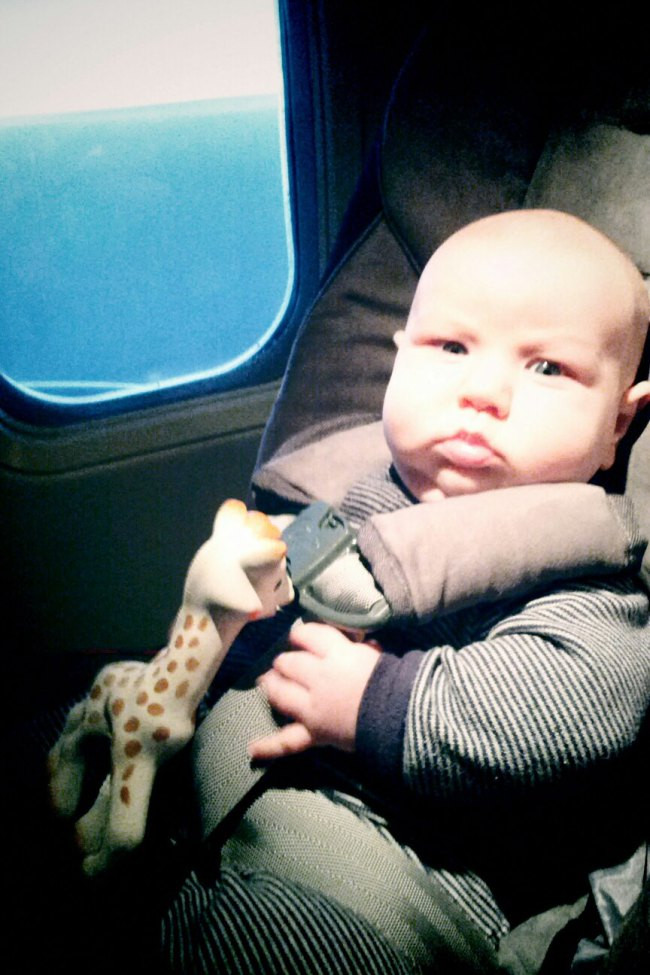 Breastfed traveling baby