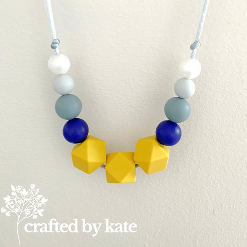 Mustard, navy and grey teething necklace