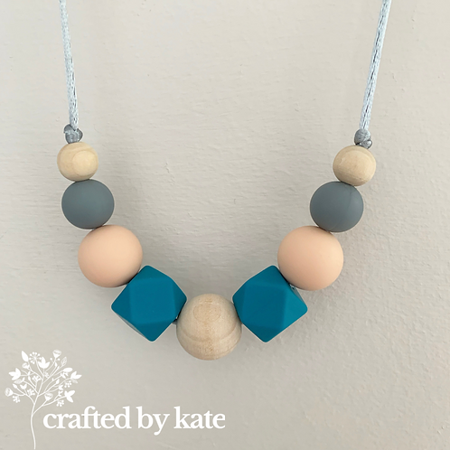 Blue, peach and grey teething necklace
