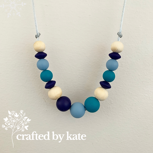 Shades of blue teething necklace