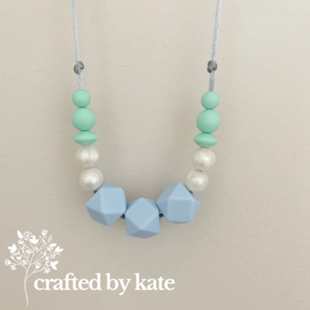 Pastel blue and pearl teething necklace