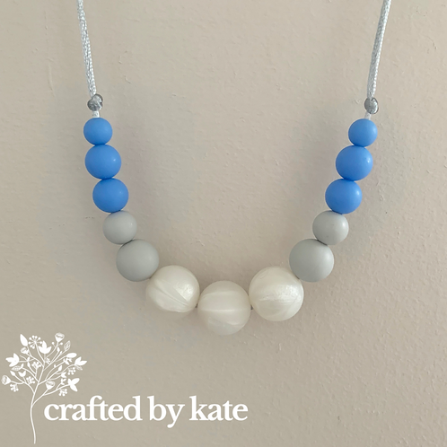 Pearl and blue teething necklace