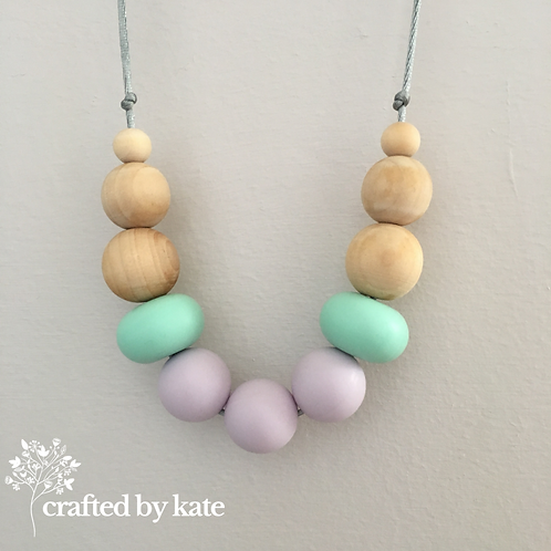 Mint and lilac teething necklace