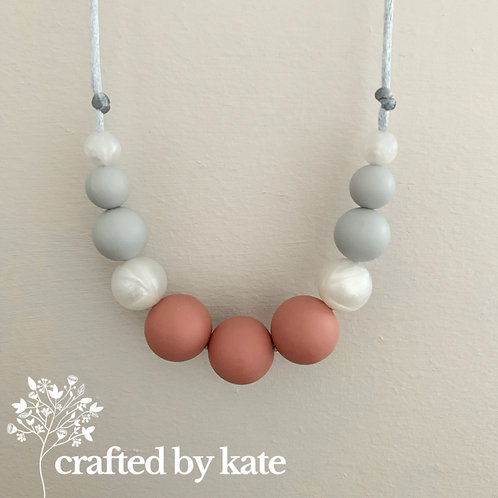 Dusky pink, pearl and grey necklace