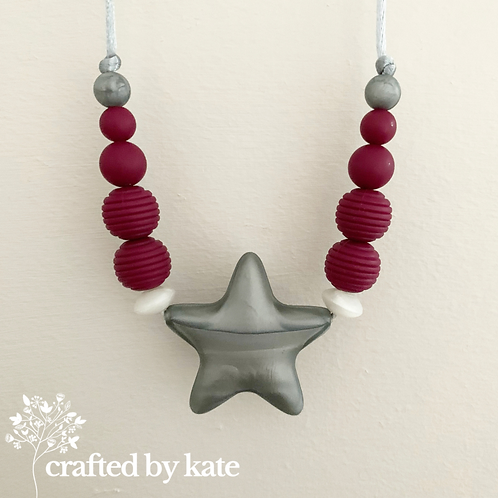 Purple and silver star silicone beaded necklace