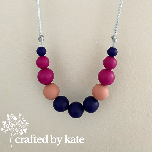 Navy and magenta teething necklace